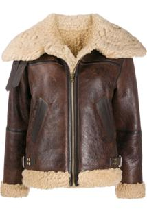 Sandro Paris Shearling Trim Zip-Front Jacket - Marrom