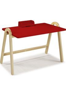 Mesa Escrivaninha Com Porta Objetos Ringo 1031 Natural/Vermelho - Maxima