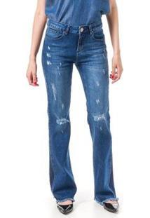 Calça Jeans Bloom Flare Taty Destroyed Feminina - Feminino-Azul