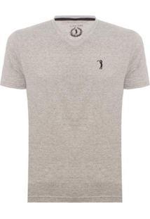 Camiseta Gola V Básica Aleatory Masculina - Masculino-Cinza