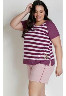 Pijama Plus Size Com Bordado Listrado