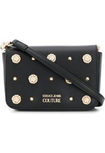 Versace Jeans Couture Bolsa Transversal Com Tachas E Logo - Preto