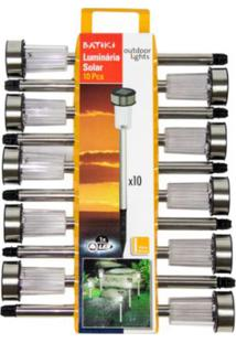 Luminária Solar De Led Em Inox Caixa Com 10 Unidades 92150