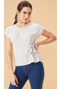 Amaro Feminino T-Shirt Com Nó Lateral, Creme