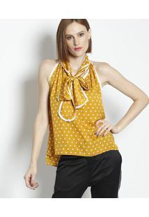 Blusa Acetinada Poá Com Amarração- Amarela & Branca-Linho Fino