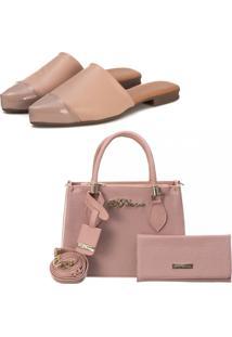 Kit Sapatilha Mule Slip Feminino Confort Bico Fino E Bolsa + Carteira Fashion Blogueira Rosa - Kanui