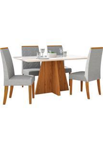 Sala De Jantar Parma Com 4 Cadeiras Carvalho Americano/Off White