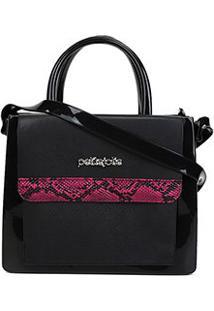 Bolsa Petite Jolie J-Lastic New Snake Feminina - Feminino-Preto+Pink