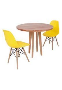 Conjunto Mesa De Jantar Em Madeira 90Cm Com Base Vértice + 2 Cadeiras Eiffel - Amarelo