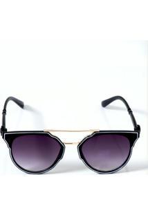 Óculos De Sol Preto Geométrico