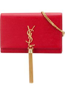 Saint Laurent Bolsa Transversal 'Kate' Pequena De Couro - Vermelho
