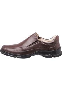 Sapato Medical Line Elástico Conforto Gel Couro - Masculino-Marrom