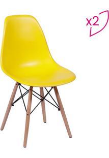 Jogo De Cadeiras Eames Dkr- Amarelo & Madeira- 2Pçs