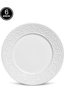 Conjunto De Pratos Rasos Porto Brasil Baroque 6Pçs Branco