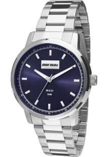 Relógio Analógico Mormaii Mo2036Ht-3A Feminino - Feminino-Prata+Azul