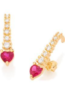 Brinco Bijoulux Ear Hook Filete Zircônias Brancas E Zircônia Rosa Com Branco Coração Semi Jóia