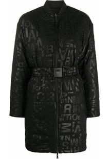 Emporio Armani Graphic-Print Puffer Coat - Preto