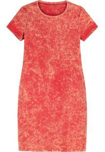 Vestido Vermelho Curto Marmorizado