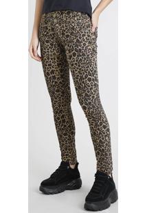 Calça De Sarja Sawary Super Skinny Pull Up Estampada Animal Print Bege Escuro