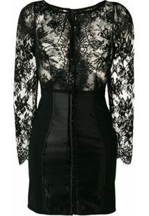 Dolce & Gabbana Vestido Slim Com Renda Floral - Preto
