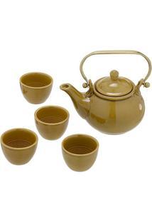 Jogo De Bule Com Xícaras Para Chá - Amarelo Escuro -Mabruk