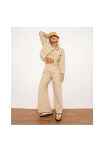 Calça Wide Pantalona De Sarja Com Recorte Cintura Super Alta Bff Kaki