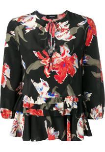 Rochas Blusa Com Estampa Floral - Preto