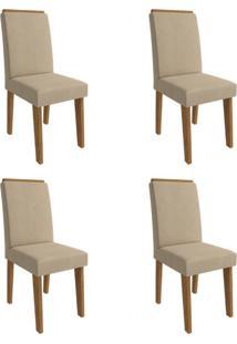 Conjunto Com 4 Cadeiras De Jantar Milena Suede Savana E Caramelo