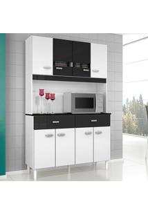 Cozinha Compacta 8 Portas E 2 Gavetas Manu - Poquema - Branco / Preto