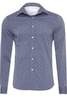 Camisa Masculina Fil Print Flor - Cinza
