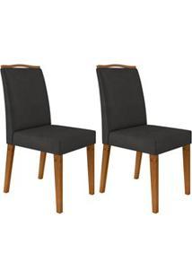 Kit 2 Cadeiras Estofadas Para Sala De Jantar Bella N04 Cinza Lux/Ipê -
