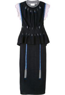 Mame Kurogouchi Vestido De Tricô Com Sobreposição - Azul