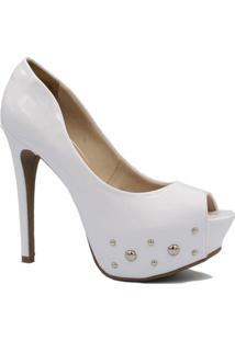 Peep Toe Zariff Shoes Nobuck Salto Alto - Feminino-Branco