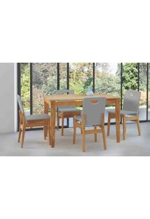 Mesa De Jantar 4 Cadeiras Tucupi 120Cm - Acabamento Stain Nózes E Cinza Concreto