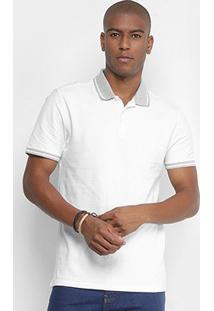 Camisa Polo Slim Calvin Klein Manga Curta Masculina - Masculino-Branco