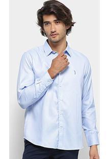 Camisa Social Aleatory Manga Longa Básica Slim Fit Masculina - Masculino-Azul Claro