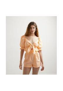 Blusa Cropped Em Tricoline Com Amarração Frontal E Babados