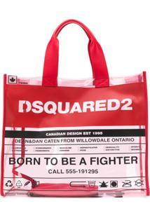 Dsquared2 Bolsa Tote Transparente Com Detalhe De Logo - Vermelho