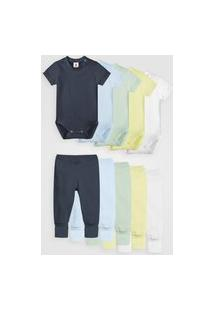Kit 10Pçs Body Culote Zupt Baby Enxoval Azul