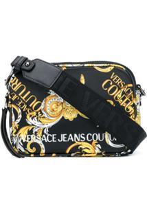 Versace Jeans Couture Logo Baroque-Print Shoulder Bag - Preto