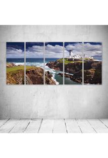 Quadro Decorativo - Ocean Beach Lighthouse - Composto De 5 Quadros - Multicolorido - Dafiti