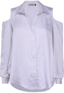Camisa Feminina Com Abertura Nos Ombros Branco