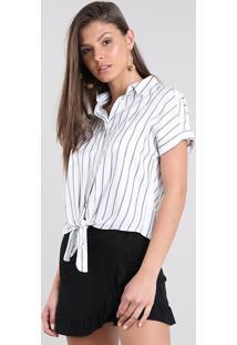 Camisa Feminina Cropped Listrada Com Nó Manga Curta Off White