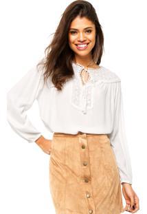 Camisa Manga Longa Fiya Lady Renda Branca