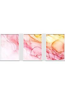 Quadro 60X120Cm Abstrato Espinela Rosa Moldura Branca Sem Vidro Decorativo Interiores