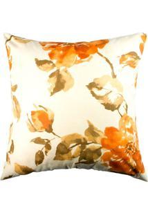 Capa De Almofada Floral- Off White & Laranja- 42X42Cstm Home