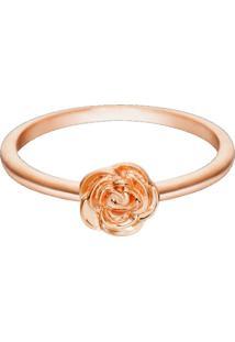 Anel Life Flor Rosa Com Banho Ouro Rosé - Tricae