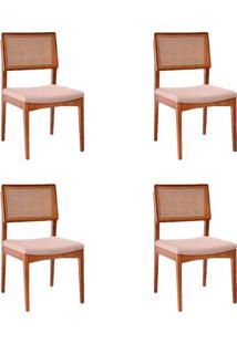 Conjunto Com 4 Cadeiras Kindon I Tela Castanho E Bege