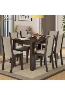 Conjunto Sala De Jantar Madesa Luna Mesa Tampo De Madeira Com 6 Cadeiras Marrom - Tricae