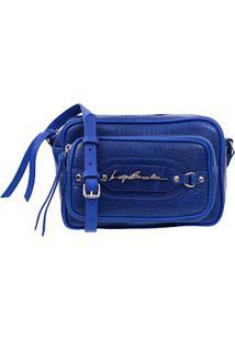 Bolsa Pequena Em Couro Azul Com Bolso Frontal